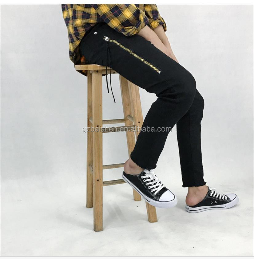 Fashion European Style Black Strech Denim Jeans for man with Zipper on the side