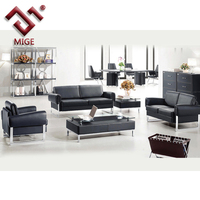 Office sofa set designs Black leather