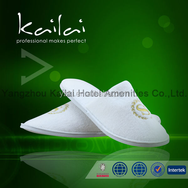 Customized Design White Terry Men Shoes/ Hotel Slipper Comfortable Terry Hotel Slipper