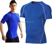 2015 New DRI-FIT Summer Men Sports T shirts Tight Elastic Round Neck Fitness Short Sleeved Leisure Basketball Hot Sale 1018