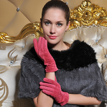 Bright Color Pig Suede Lady's Fashion Leather Gloves