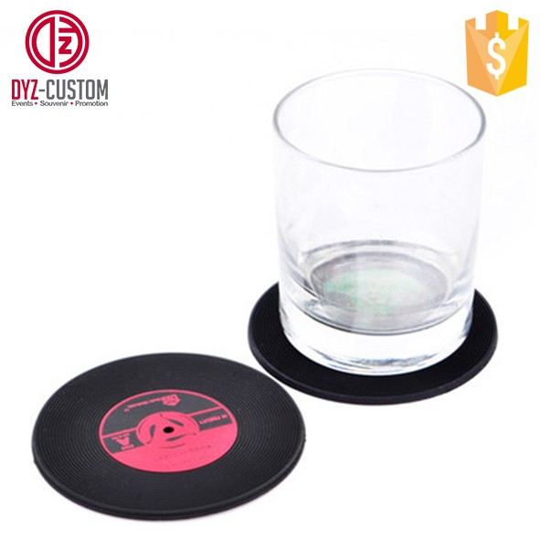Custom Round shaped Soft Rubber PVC Record Drink Coaster Set of 6