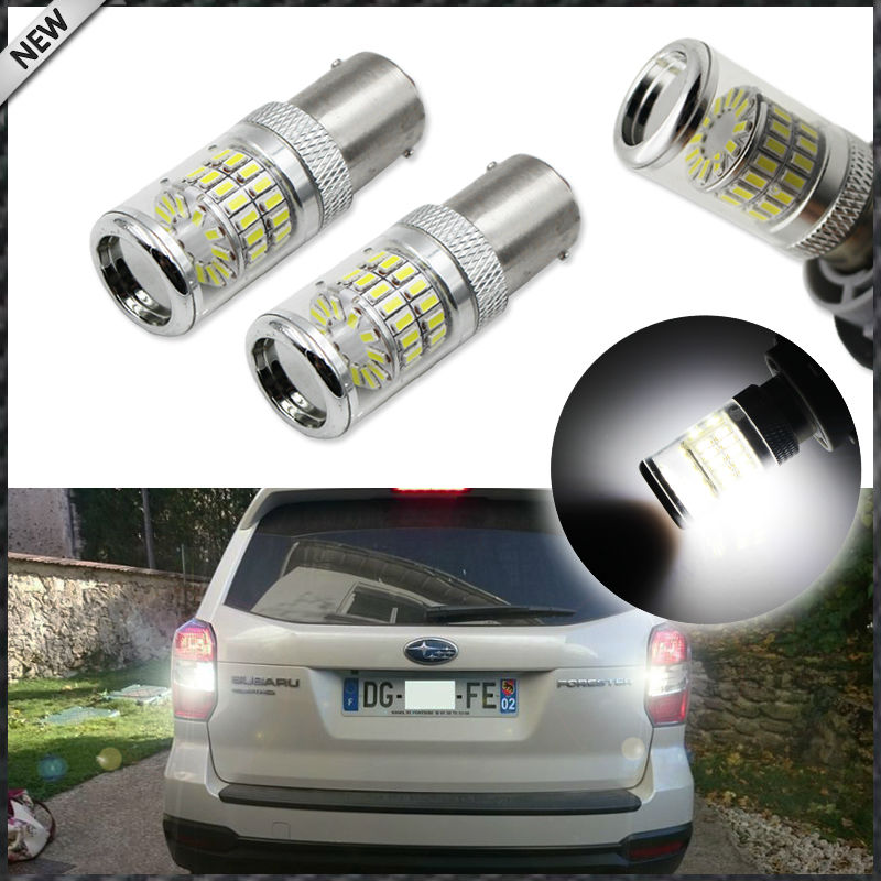 Xenon White 48-SMD 1156 7506 S25 P21W LED Bulbs w/ Reflector Mirror Design For Brake, DRL, Backup Lights Lamps