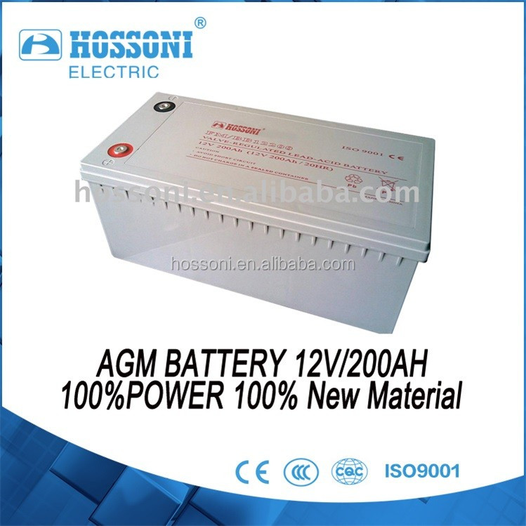 HOSSONI, AGM battery 12V 200AH,100%power, 100%new Material