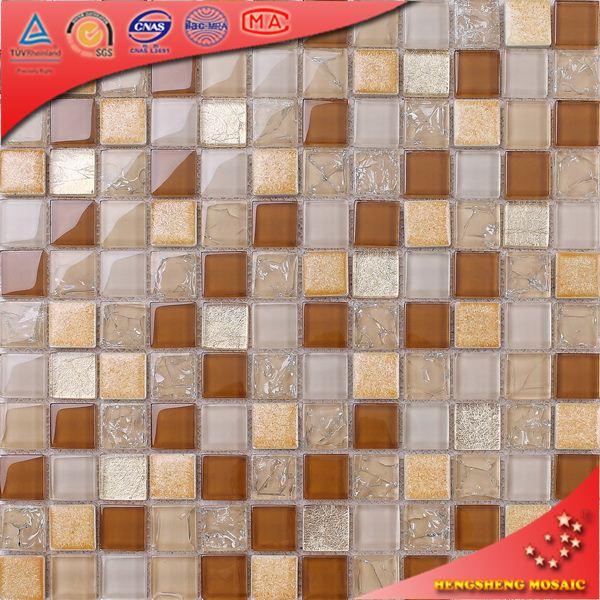 Tc68 oro hoja vidrio cer mica mosaico pared azulejo home - Azulejos para mosaicos ...