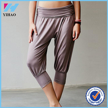 Yihao 97% Rayon/3% Spandex Cheap Wholesale Loose Fit 3/4 Length Leggings Custom Made Yoga Wear Gym Pants Women Dance Costume