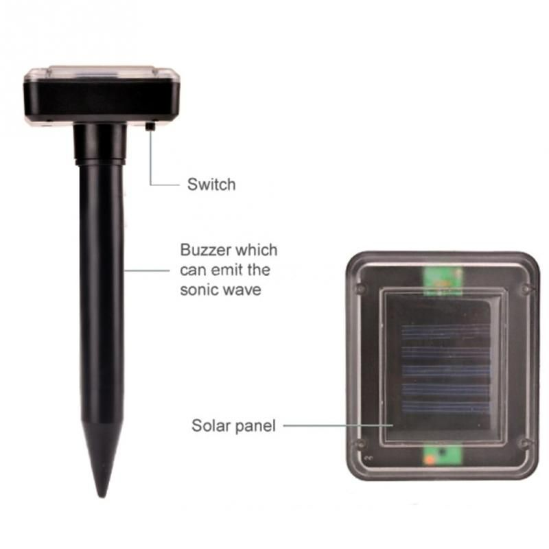 Creative Eco-friendly Solar Powered Outdoor Garden Yard Ultrasonic Sonic Mole Vole Snake Rodent Pest Repeller