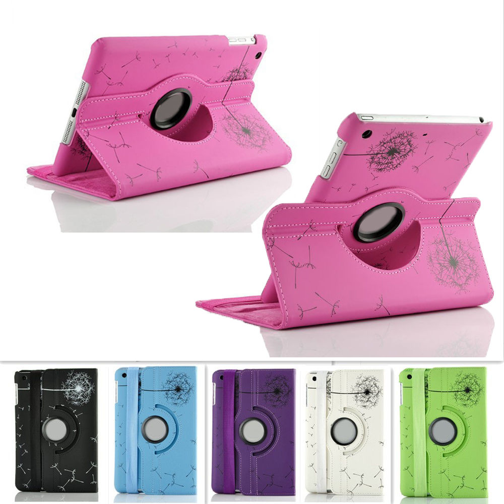 Dandelion Pattern 360 Rotating PU Leather Stand Case Cover for iPad air 2/3/4 mini