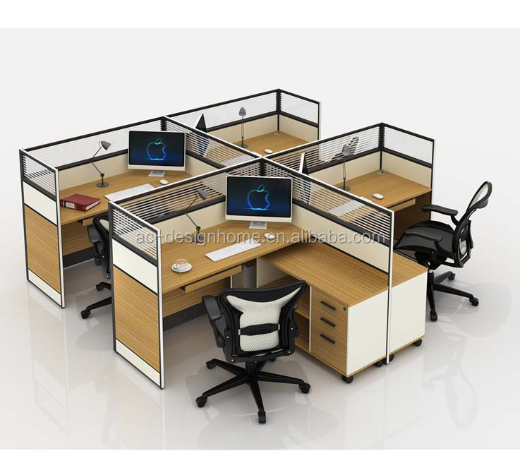 Timber Office Desk, Table Office, Office Counter Table Office Furniture Design (C029-HGM-2301-4)