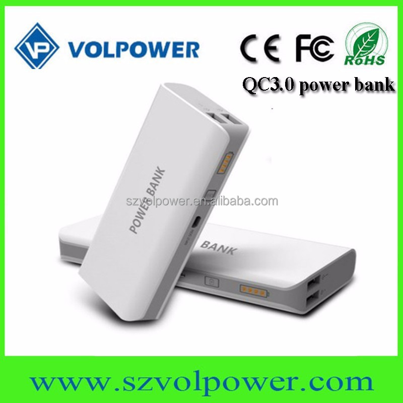 Dual USB external mobile phone charger 10000mah, QC3.0 fast charging low pricing directly from manufacturer