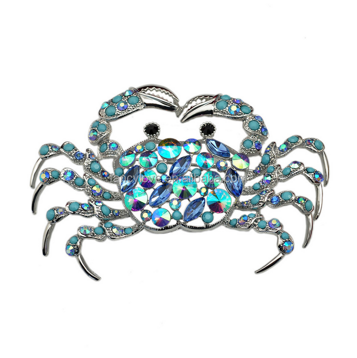 Fancylove Jewelry unique design turquoise beads AB color stone handmade crab brooch