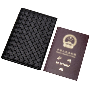 personalized weave pattern pu leather passport holders wholesale cover