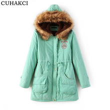 Women Winter Coat Wadded Jacket Medium-Long Plus Size Coats Parka Fur Collar Thick Hooded