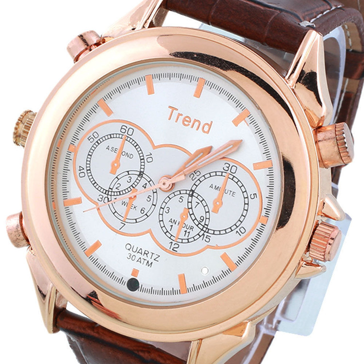 2016 New Arrival Rose Golden Exquisite Waterproof Ultra-thin Lady Hidden Camera Watch