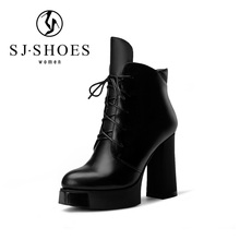8748 Women cowhide Genuine Leather Ankle Boots Shoes Lady Fashion roman lace up chunky boots