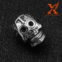 In Stock Male Jewelry Drop Ship 2016 Fashion Ring Stainless Steel Rings For Man Big Tripple Skull Ring Punk Biker Jewelry