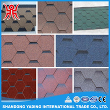 Building material hexagonal roofing shingles colorful