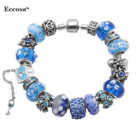 Fashion Wholesale Murano Glass Bead Charm Beaded Silver Plated Metal Bracelet fashion jewelry brand imitation Jewellery