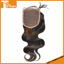 Wholesale! Invisible Part Closure 4*4 Body Wave Mongolian Side Part Closure 5A Mongolian Bangs Lace Closure