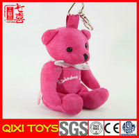 OEM wholesale fabric soft toy white small plush teddy bear keychains