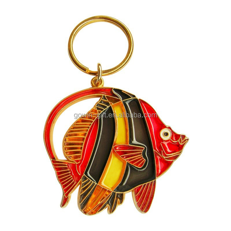 2015 New Hot Customized Colorful Fish Metal Keychain