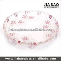 12.2'' colored glass plates,decorative glass plates, red clear glass plates GB1709MH/PDS