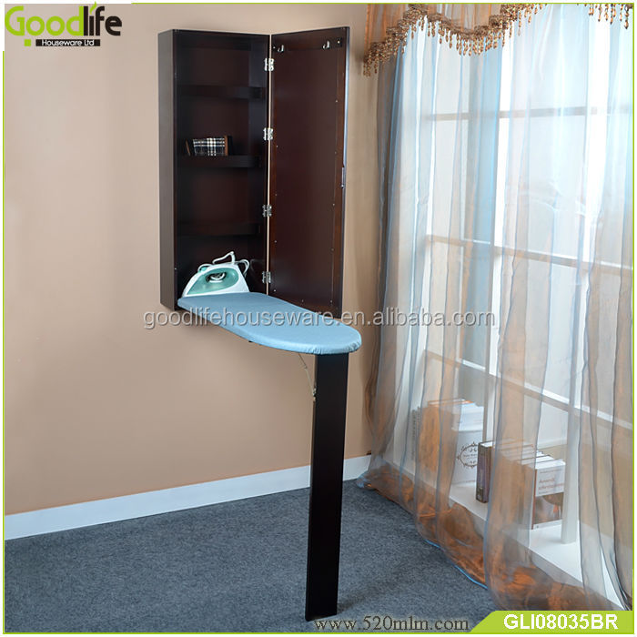 Goodlife wall hanging mirrored wooden cabinet with folding ironing board inside