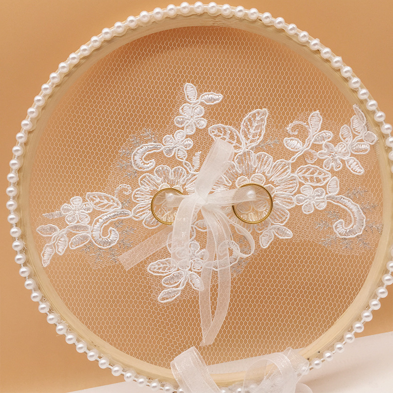 Fashion Wedding Decor Ring Pillow Ribbon Lace Wooden  Pillow Round Shaped With Bow Tie Wedding Decoration Party Supplies