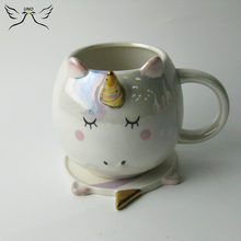 Ceramic Unicorn Mug Pearlized Elegant Up grade Mug with plate Coffee Cup and Saucer