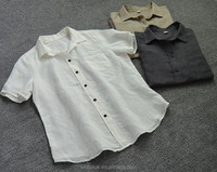 Fashionable new style ladies cotton/linen short sleeve shirt blouse
