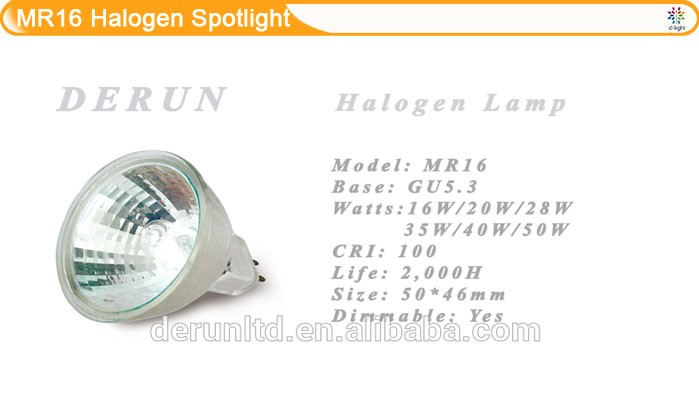 35W 38 Degree 12V GU5.3 dimmable MR16 Quartz Halogen Spotlight Bulb