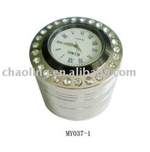 round metal cigarette grinder with watch