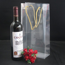 Customized Promotional transparent clear soft plastic PVC wine bag with pipe handles and logo