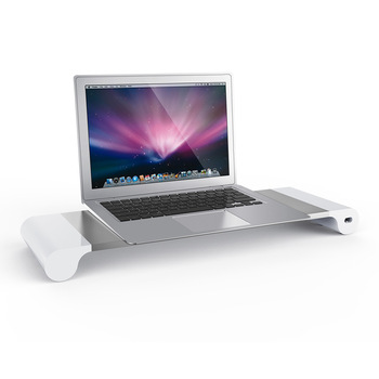 High Quality EU/AU/US/BS Plug Aluminum Monitor Stand Laptop Holder with 4 USB Charging Port Monitor Riser Stand