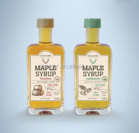 250ml clear and rectangle shape glass maple syrup bottle with plastic cap