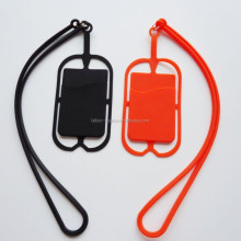 Mobile phone silicone sling necklace wrist strap with card holder