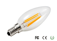 c35 dimmable 2w led filament bulb candela Glass Cover Ceramic Filament bulb e14 Ceramic candle led bulb light