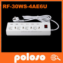 EU plug Standard 4 Outlet 6 USB Power DC Socket with CE & RoHS Electrical Power Strip