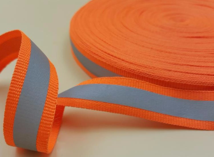 Fluorescent green spandex fabric reflective webbing ribbon for making safety vest