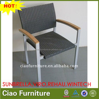 OUTDOOR POWDER COATED ALUMINUM PE rattan arm chair WITH TEAK WOOD ARM