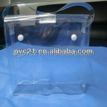 Transparent PVC bag, button closure plastic cosmetic pouch, plastic ziplock cosmetic pouch for 2015 ladies