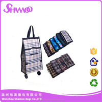 Convenient pp woven shopping trolley bag with wheels