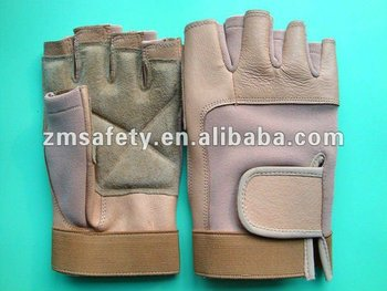 Pigskin Leather Workout Weight Lifting Gloves With Straps For Fitness ZMR567