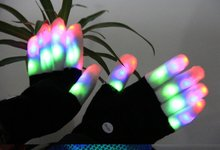 LED Gloves, Flashing LED Finger Light Gloves with Colorful Rave 7 Colors Light Show Best Idea Christmas Gift