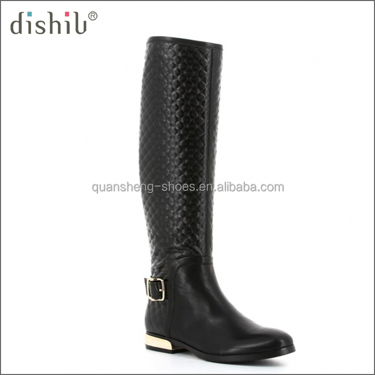 2016 Popular design flat style fashion buckle strap knee high embossed genuine leather women boot