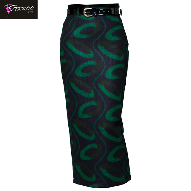 Women Fashion Winter Casual Wear With Belt High Waist Back Split Side Pockets Elegant Printed Long Slim Woolen Pencil Skirt