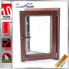 Low U-factor tilt and turn wood door design window with interpon powder coating