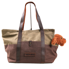 portable small pet dog cat travel carrier waxed canvas tote bag for outdoor