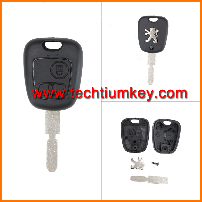 uncut 406 key blade remote control key shell blank case for Peugeot 405 408 607 key with 2 buttons and logo