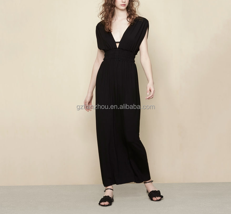 China suppliers clothing OEM sleeveless deep V-neck elasticated waist Chic minimalist long jersey evening dress for women